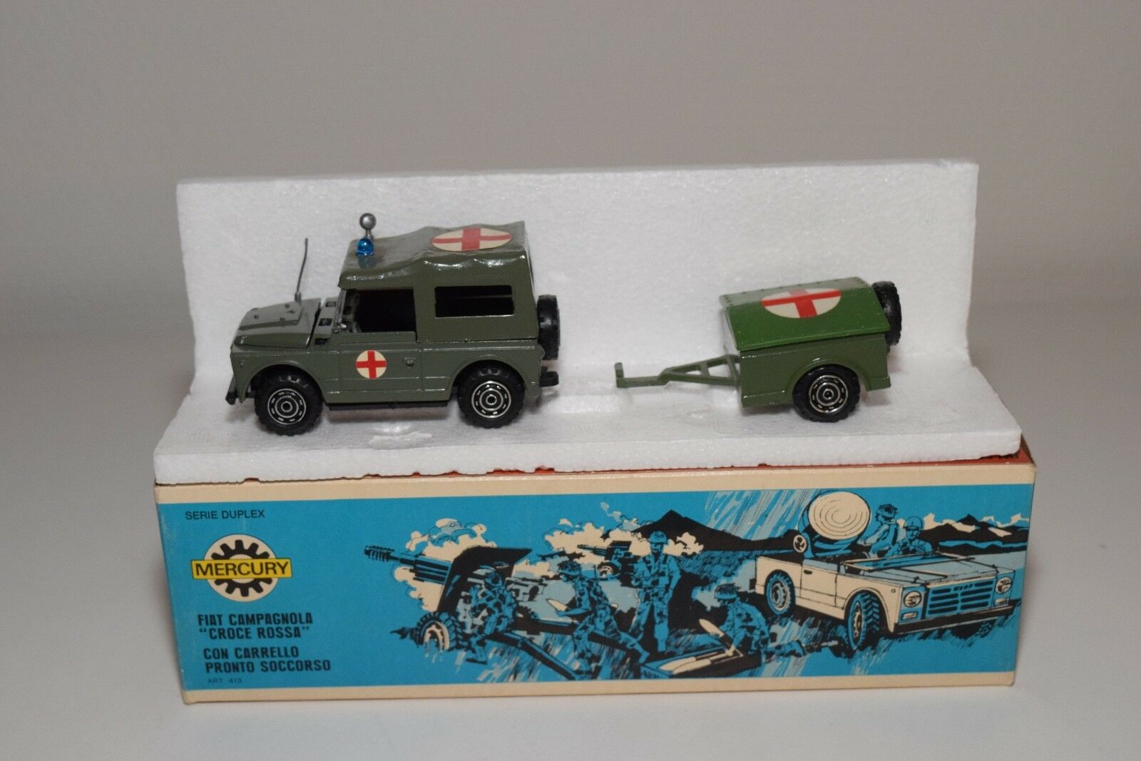 @. MERCURY 413 FIAT CAMPAGNOLA CROCE ROSSA WITH TRAILER MINT BOXED