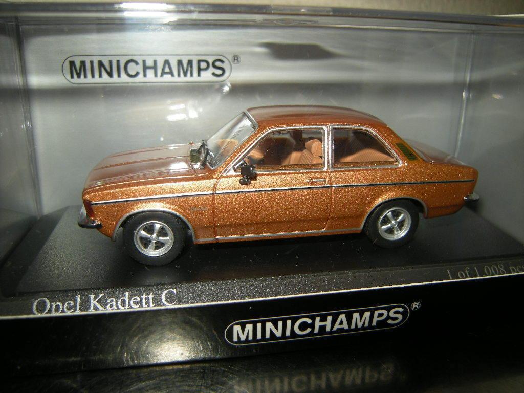 1 43 Minichamps Opel Kadett C Berline 1978 or Nº 400048100 neuf dans sa boîte