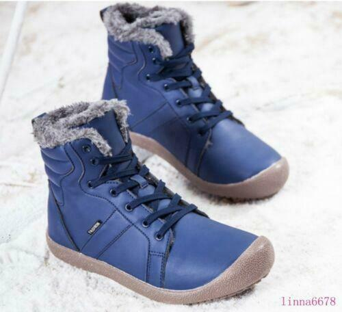 Mens Womens Lace up Winter Warm Fur High top Ankle boots Casual Flats shoes New