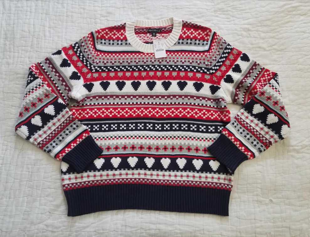 NEW WOMEN'S XL J CREW FACTORY MERCANTILE CLASSIC FAIR ISLE HEART SWEATER
