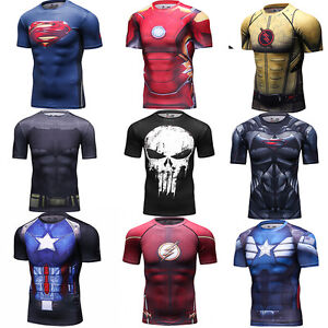 Men-039-s-Marvel-Superhero-T-Shirts-Workout-Sports-Compression-Tops-Cosplay-Clothing