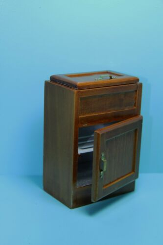 Refrigerator in Walnut ~ D2687 Dollhouse Miniature Kitchen Ice Box