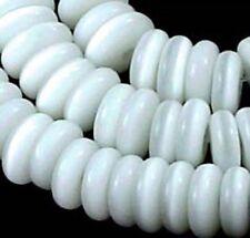 "7x2mm Cat's Eye Glass Heishi Rondelle Beads 15"" - White"