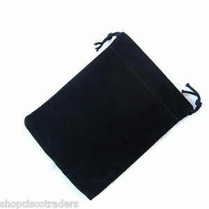 Five-Bags-Black-Velour-Drawstring-Pouches-7x9cm-Gift-Wedding-Jewelry-Crystals