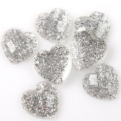 120pcs New 10mm Heart Shape Resin Embellishments Flatback Silvery Rhinestones D