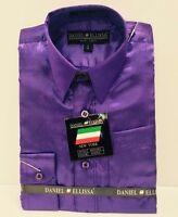 Boys' Satin Dress Shirt Solid Purple Daniel Ellissa 100% Polyester Sizes 4 - 6