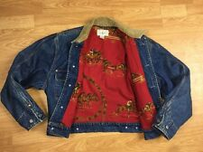 VTG Polo Ralph Lauren DENIM red Polo BLANKET LINED Jean Jacket Barn Chore B10