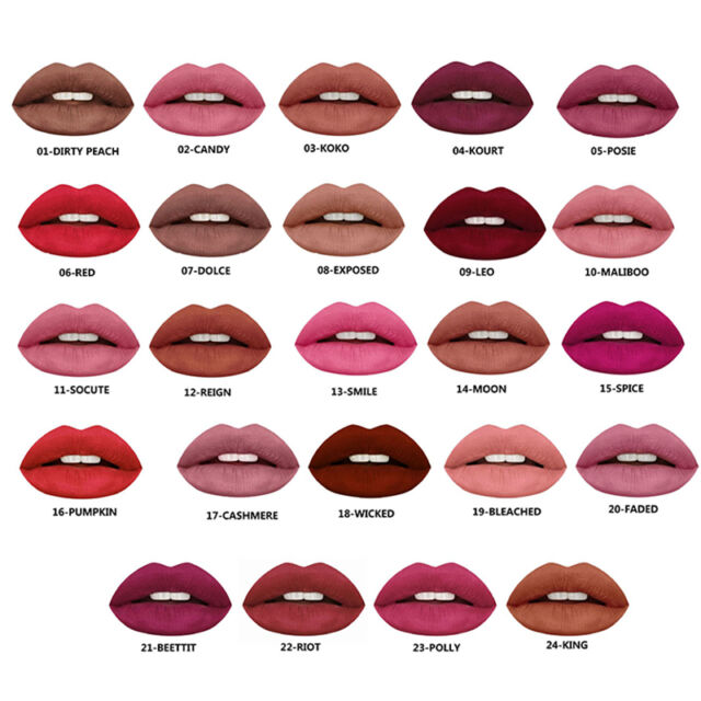 24 Colors Sexy Lip Gloss Beauty Makeup Waterproof Matte Liquid Lipstick Cosmet_