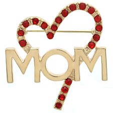 I Love Mom Mother s Day Valentines Day Gift Red Heart Charm Pin Brooch  Jewelry G b1baebe4cb96