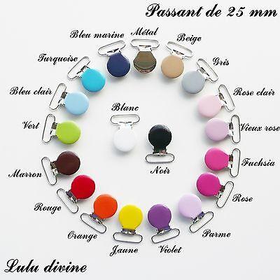 Clip AU CHOIX 3 Pinces Coeur couleur Attache tétine sucette passant de 20 mm