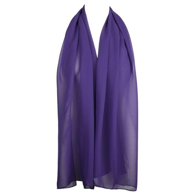 50fbaf6c56bd3 Classic Elegant Plain Chiffon Ladies Scarf Dark Purple for sale ...