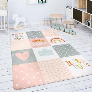 Kinderteppich Teppich Kinderzimmer Spielmatte Babymatte Rauten Sterne Grau Rosa