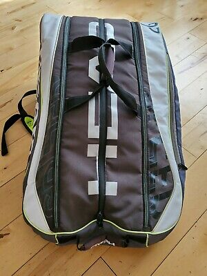 Head Novak Djokovic 12 Racquets Tennis Bag With Zippered Pocket For Shoes Ebay