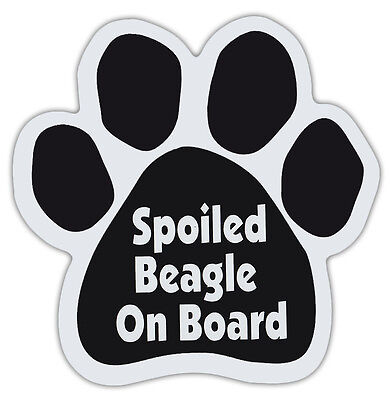 Dog Paw Shaped Magnets: SPOILED BEAGLE ON BOARD | Dogs, Gifts, Cars, Trucks