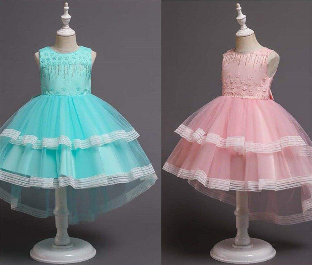New Flower Girl's Sequined Floral-Embroidered Chest Evening Dress Up 3-12Years