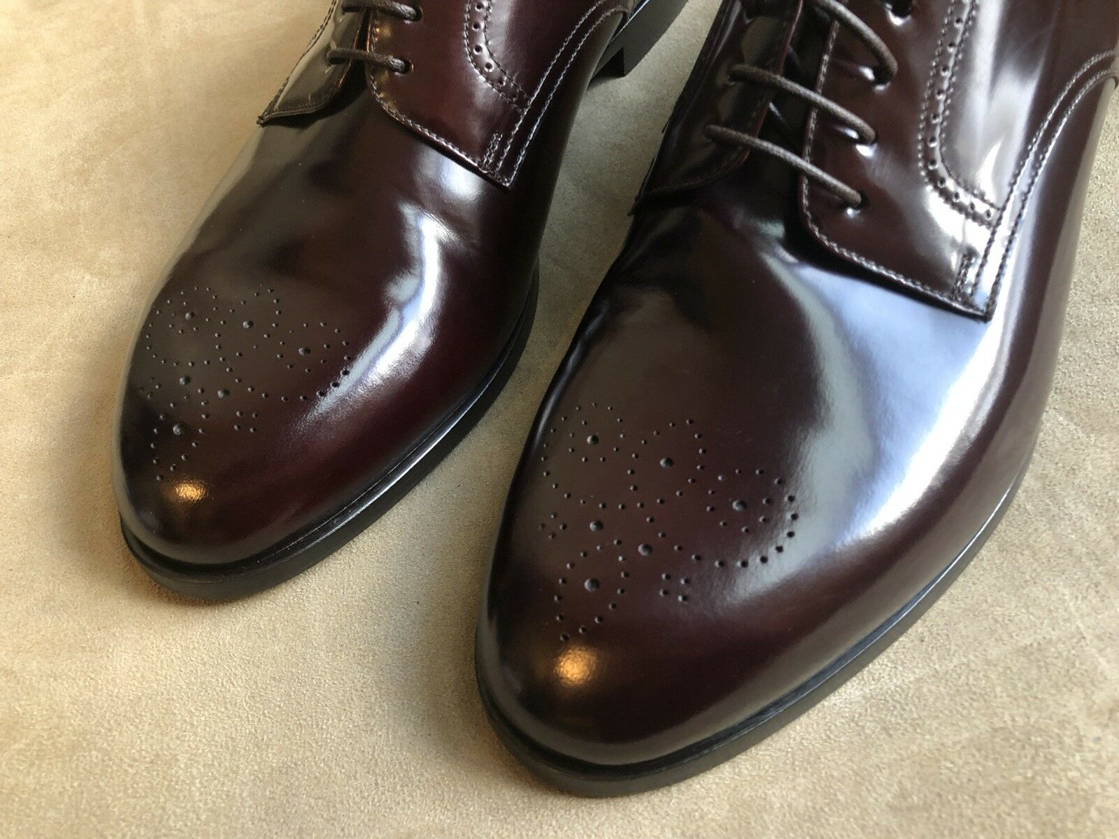 GIORGIO ARMANI DETAILS BAROLO DEEP BURGUNDY OXFORDS WITH BROGUE DETAILS ARMANI S 10 RP  845.00 d9a7d0