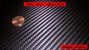 CFK Voll Carbon Platte ca 3D Echtcarbon 1mm 300mm x 200mm mit Schutzfolie