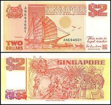 Singapore $2 Dollars, 1990, P-27, UNC