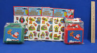 Christmas Puffy Stickers & 2 Plastic Candy Boxes Crafts Toys Children Santa
