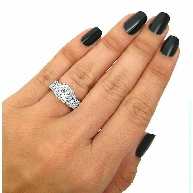 4Ct Round Cut Diamond Vintage Solitaire with Accents Ring 14K White gold Finish