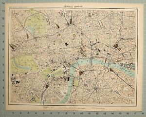 1897 Victorian Antique Map Central London Stations British Museum