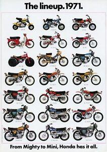 Image Is Loading 1971 HONDA LINE UP FULL VINTAGE MOTORCYCLE