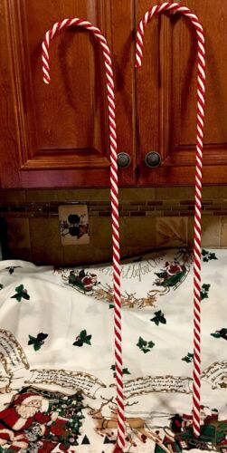 "2 XL Peppermint Candy Cane SPRAY Poke Ornament 31 12"" Tree Decor Wreath Swag"