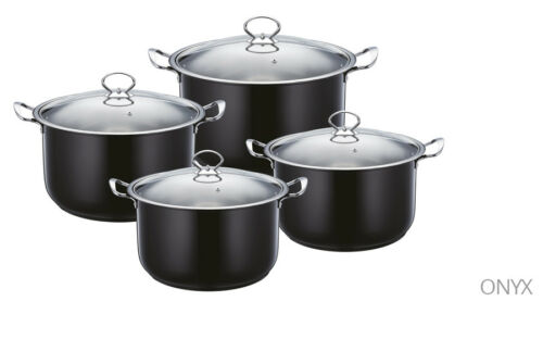 Stylish 4pc Stainless Steel Casserole Stock pot Set INDUCTION Cookware BLACK