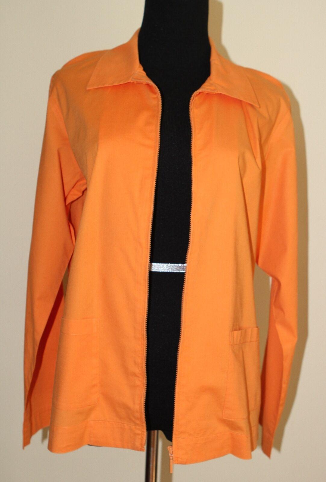 Eileen Fisher sz M Orange Cotton Stretch Zip Shirt Jacket