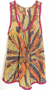 Peacock Alley Anthropologie 100% Silk Sleeveless Print Tank Top Shirt Tunic XS