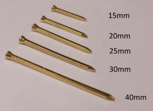 SOLID BRASS PANEL PINS 15mm 20mm 25mm 30mm 40mm CHOOSE QTY FREE P&P