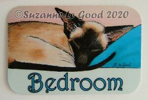 Siamese-Cat-art-painting-bedroom-door-laminated-sign-original-by-Suzanne-Le-Good