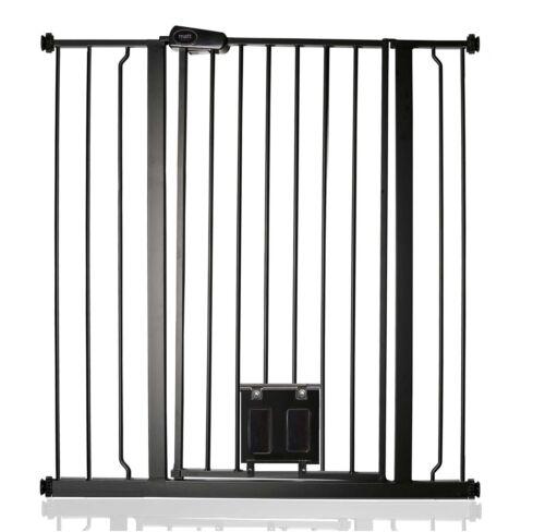 Bettacare Barrière de Sécurité Pour Animaux Avec Chatière Noir Mat 75-147,4cm