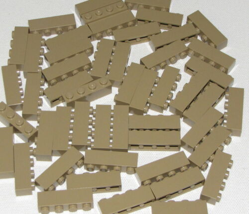 Lego Lot of 50 New Dark Tan Bricks 1 x 4 Dot Pieces Building Blocks Parts