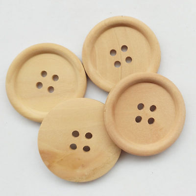 30Pcs 4 Holes 40mm Coffee Round Wooden Button For Sewing