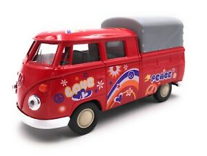 Model-Car-T1-Flatbed-Bus-Bulli-Peace-Red-Car-Scale-1-3-4-39-Licensed