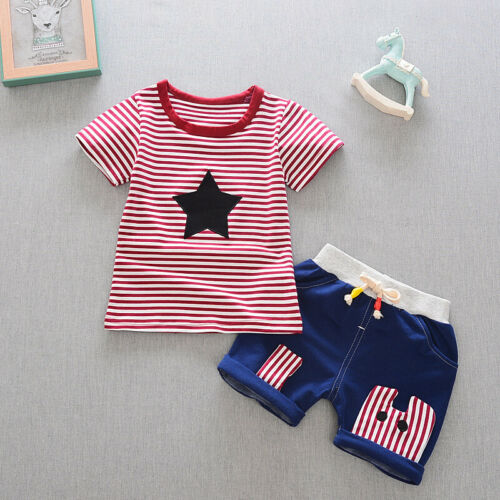 Baby Boy Summer Casual Cotton Clothing 2pc Short Sleeve Striped Star Tops Shorts