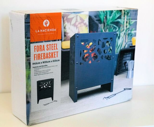 Outdoor Fire Pit Log Burner Garden Patio Heater Steel Black Firebasket NEW UK