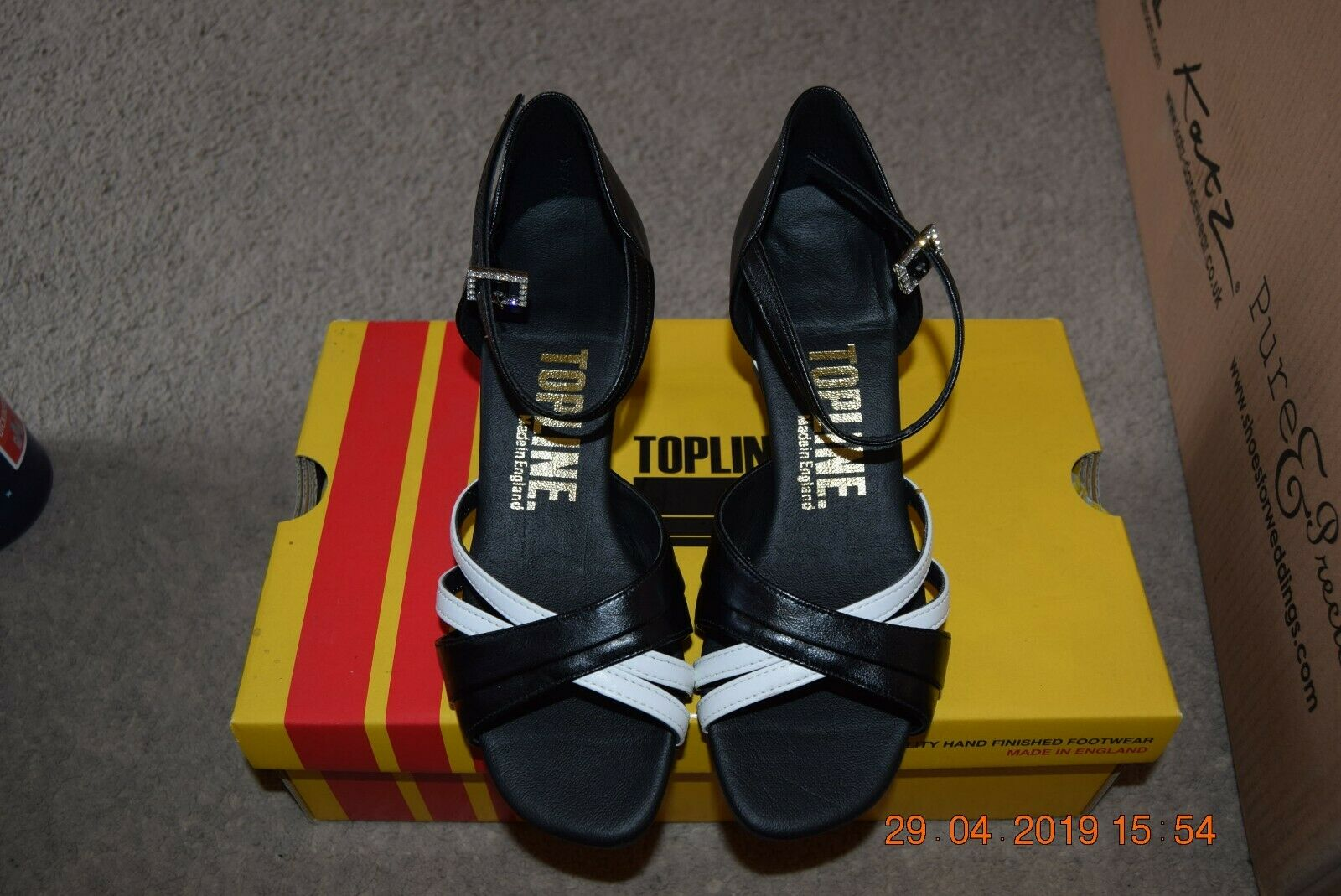 Black and White Katz/Topline Chelsea social ballroom/latin dance shoes-size 2