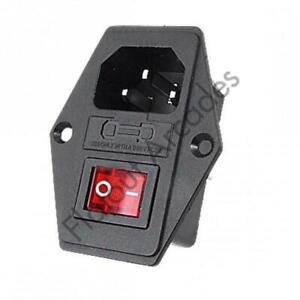 Arcade IEC Switch 10A 250V IEC320 C14 3 Pin Kettle Fused Male Power Socket