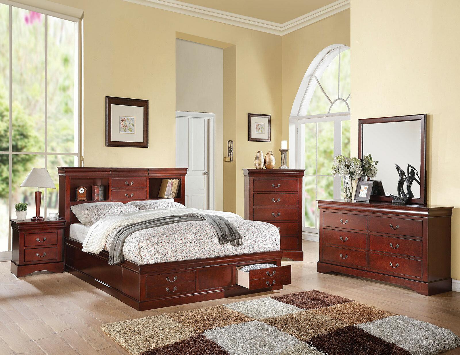 Picture of: 4 Piece Bedroom Set Merlot Queen Platform Storage Bed Bookcase Headboard For Sale Online Ebay