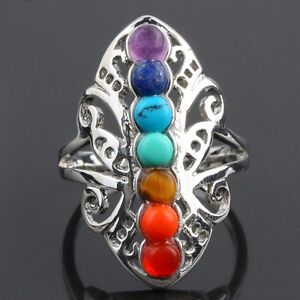 7-Chakra-Point-Healing-Stone-Gem-Stones-Hollow-Butterfly-Adjustable-Finger-Ring