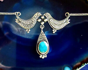 2-located-leaning-Doves-Birds-Necklace-Sterling-Silver-925-Stone-Turquoise