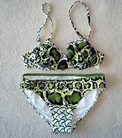 Diva Rachel Pappo Green Leopard Print Petra Twist Bikini Size 6 $148