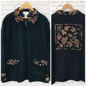 Susan-Graver-Woman-039-s-Black-Tapestry-Pink-Floral-Bomber-Zip-Up-Jacket-Size-2X