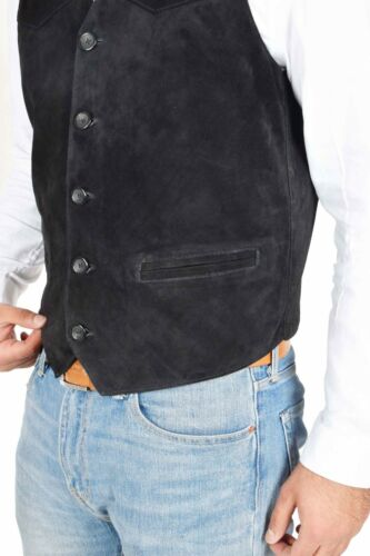 Gilet vera stile pelle per in pelle classico uomo Gilet scamosciata morbida in nera rrgTq5PwxW