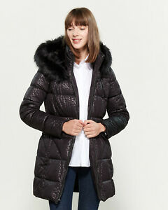 Navy sueded long down filled puffer jacket with fur trim Size LXL.