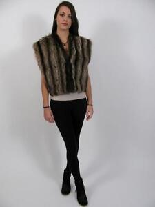 Blacks Shawl Raccoon Vest Canada Real Stole Fur l Coat~m Shrug Jacket Gilet Rg4qwRxrH