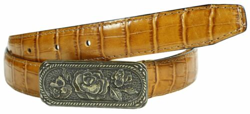 Ladies Weave Bamboo Textured Antique Rose Buckle Border Stitched Leather Belts