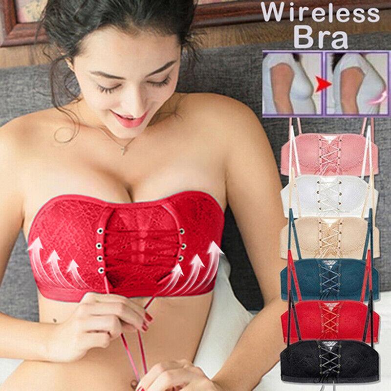Bras for Women,Leewos Non-Slip Strapless Comfy Bra Drawstrings Push Up Lace Bra Adjustable Ladies